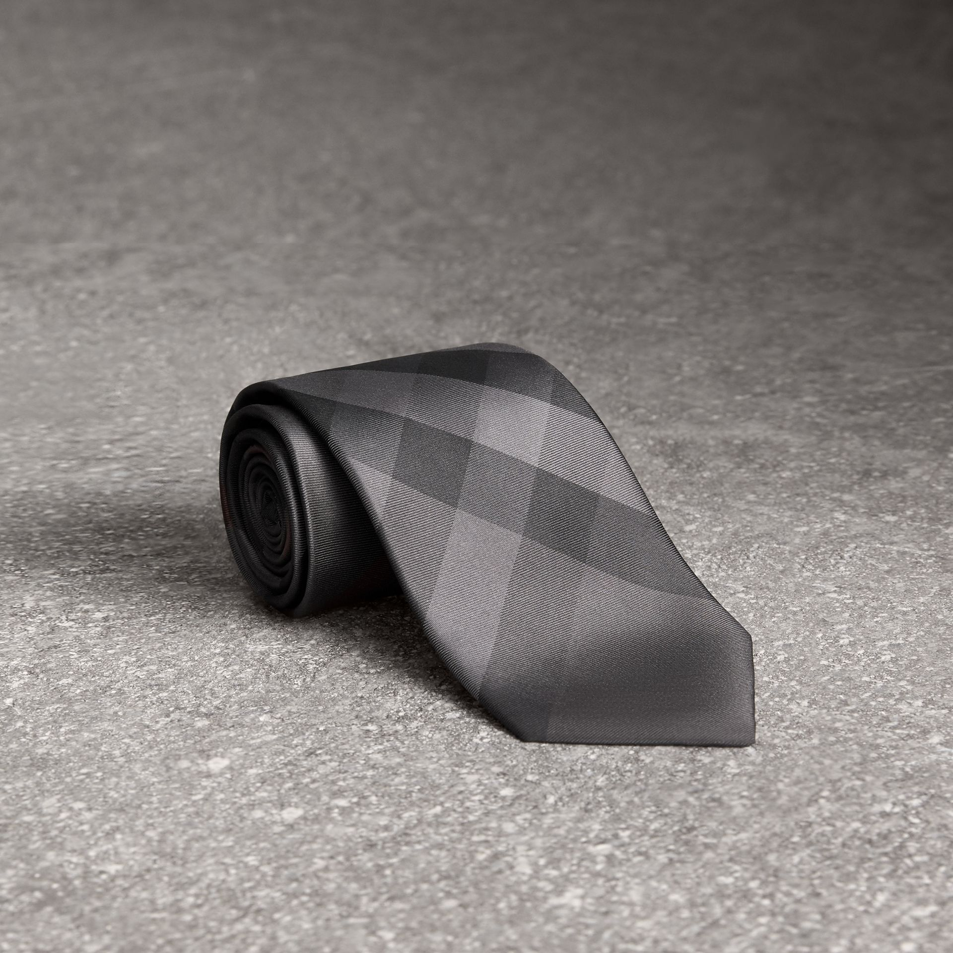 Modern Cut Check Silk Tie in Charcoal - Men | Burberry United Kingdom - gallery image 0