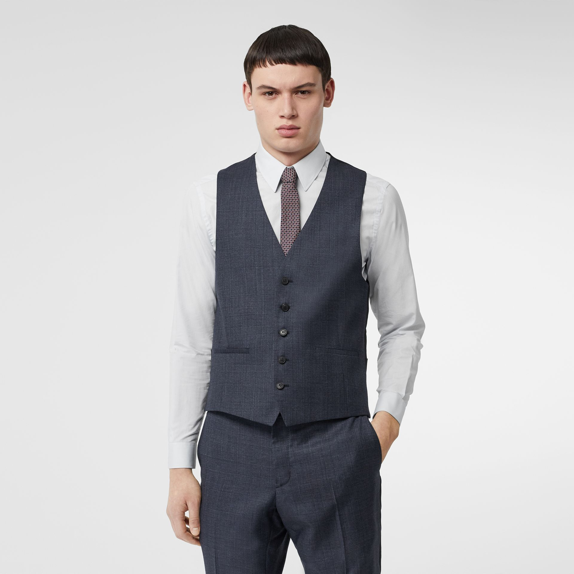 Classic Fit Check Wool Three-piece Suit in Steel Blue - Men | Burberry - gallery image 7