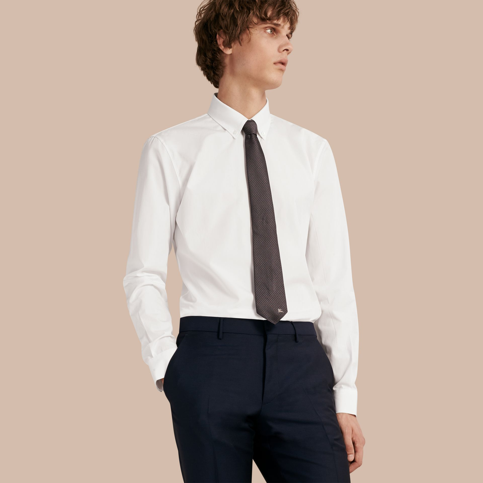 Slim Fit Button-down Collar Cotton Poplin Shirt in White - Men | Burberry - gallery image 1
