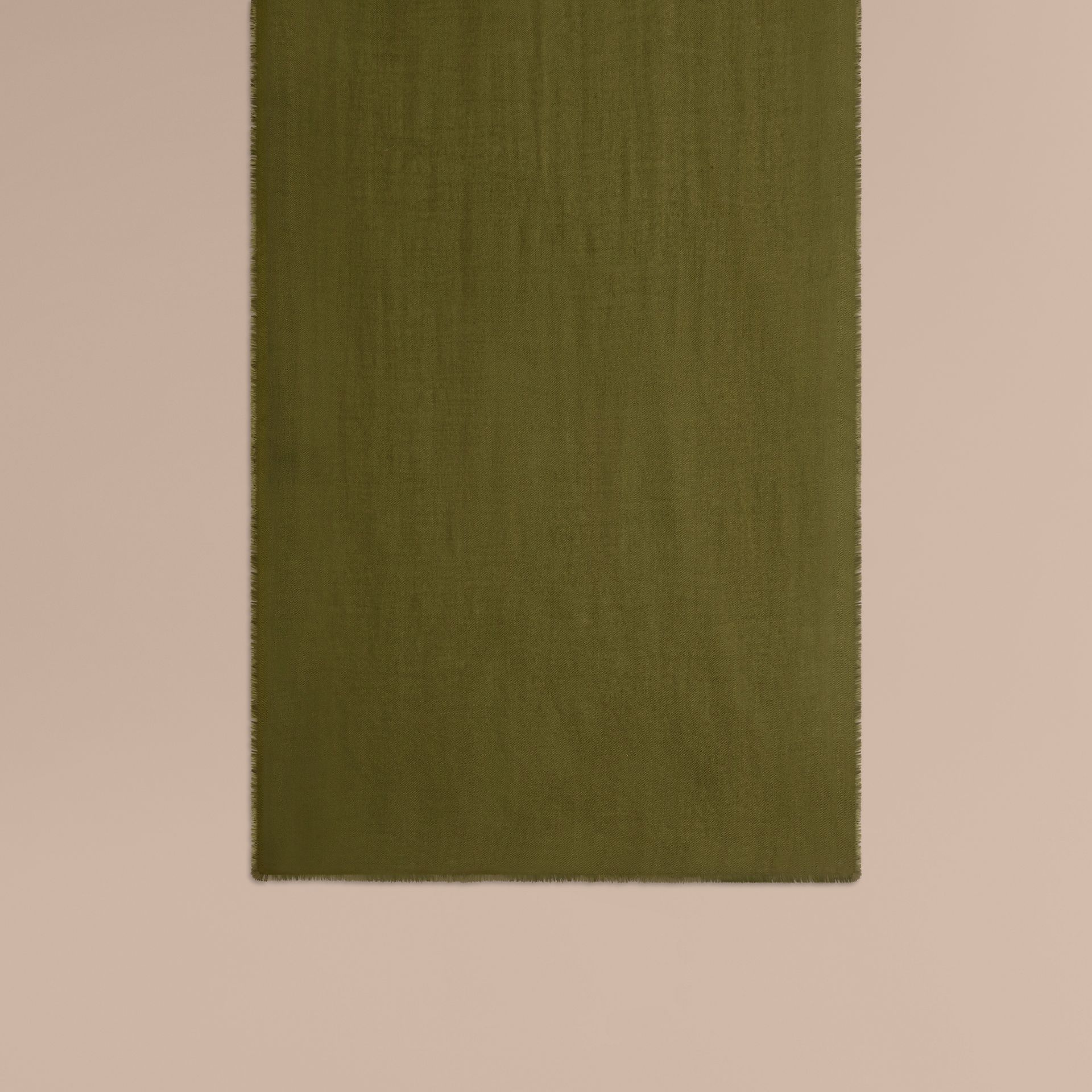 The Lightweight Cashmere Scarf in Olive Green - gallery image 2