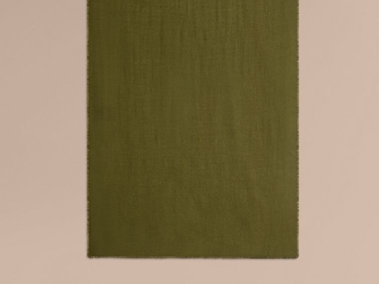 The Lightweight Cashmere Scarf in Olive Green - cell image 1