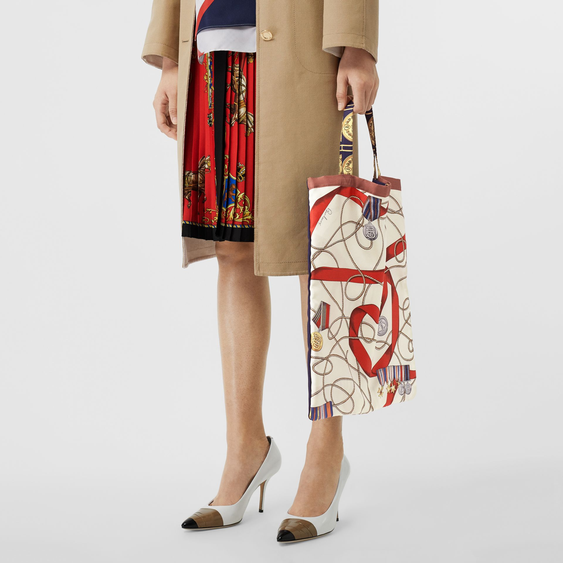 Archive Scarf Print Silk Tote in Military Red/burgundy - Women | Burberry Australia - gallery image 3