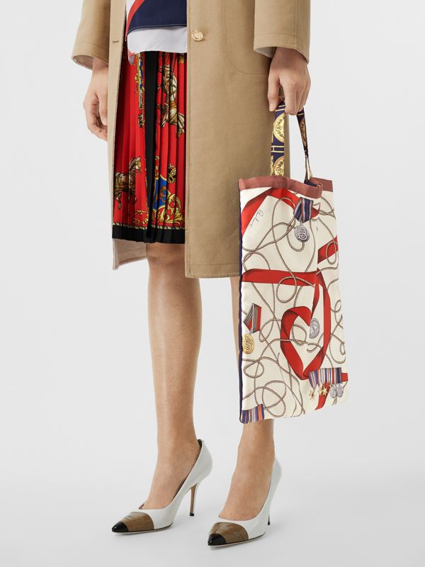 Archive Scarf Print Silk Tote in Military Red/burgundy - Women | Burberry Australia - cell image 3