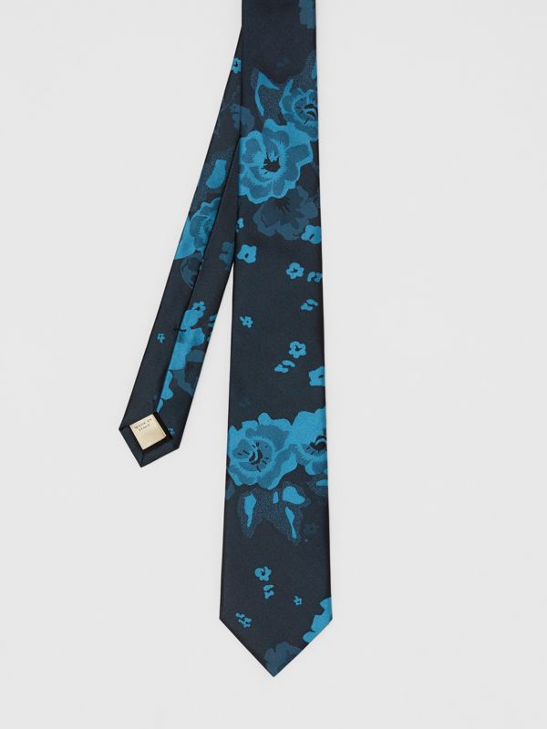 Slim Cut Floral Silk Tie in Dark Cyan - Men | Burberry - cell image 3