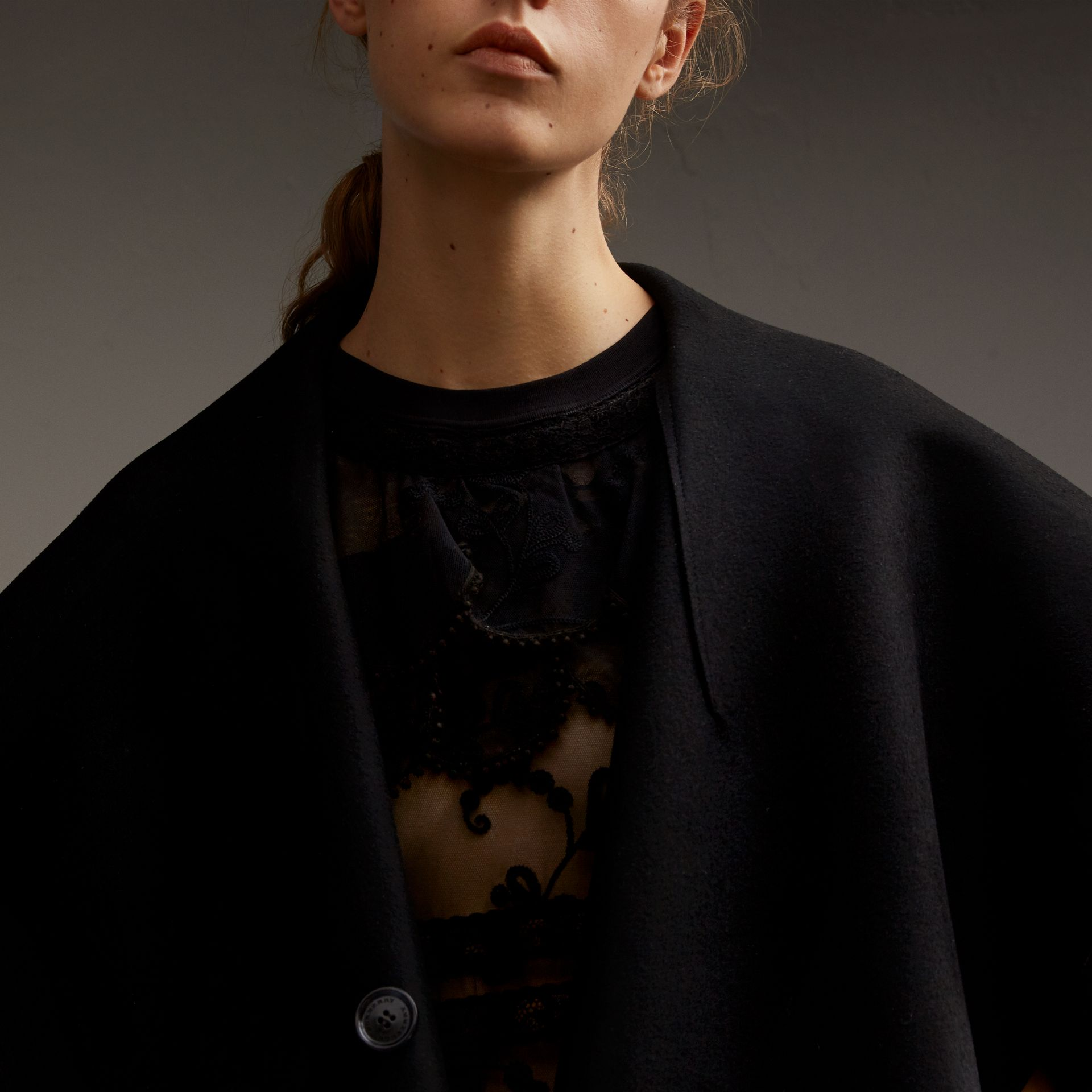 Oversize Collar Double-Faced Military Wool Cape - gallery image 5