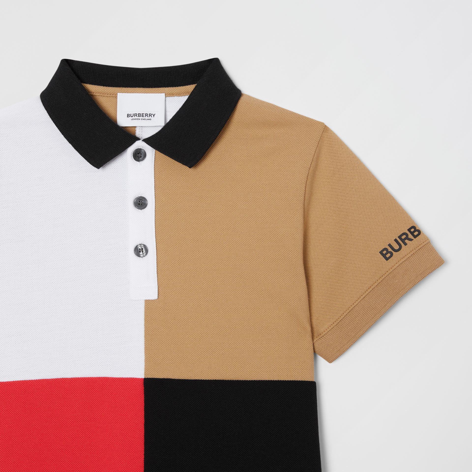 Polo color-block en coton (Beige D'archive) | Burberry Canada - photo de la galerie 4