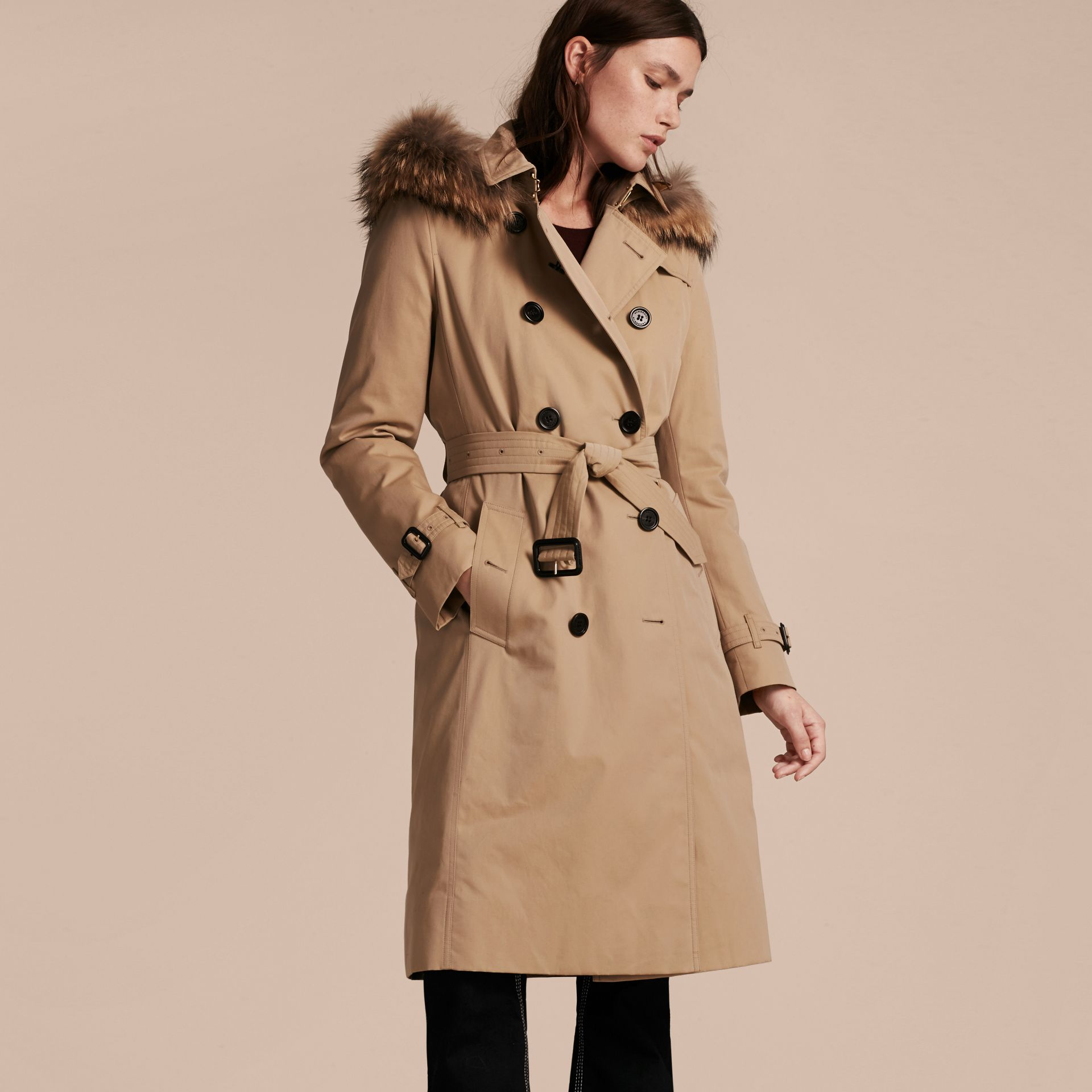 Honey Fur-trimmed Hood Trench Coat with Detachable Warmer Honey - gallery image 7
