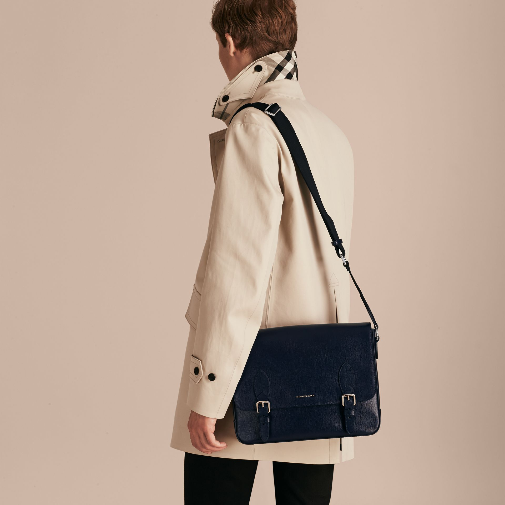Medium London Leather Messenger Bag in Dark Navy - Men | Burberry - gallery image 3