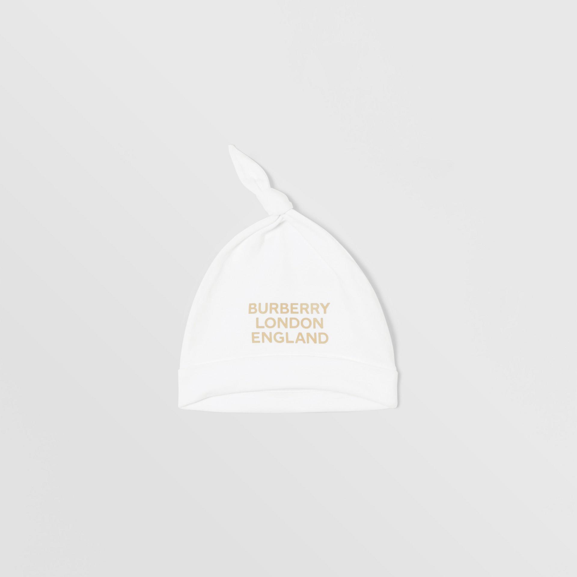 Set regalo da due pezzi in cotone biologico per neonato con stampa del logo (Bianco) - Bambini | Burberry - immagine della galleria 3