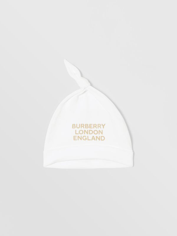 Logo Print Organic Cotton Two-piece Baby Gift Set in White - Children | Burberry United Kingdom - cell image 3