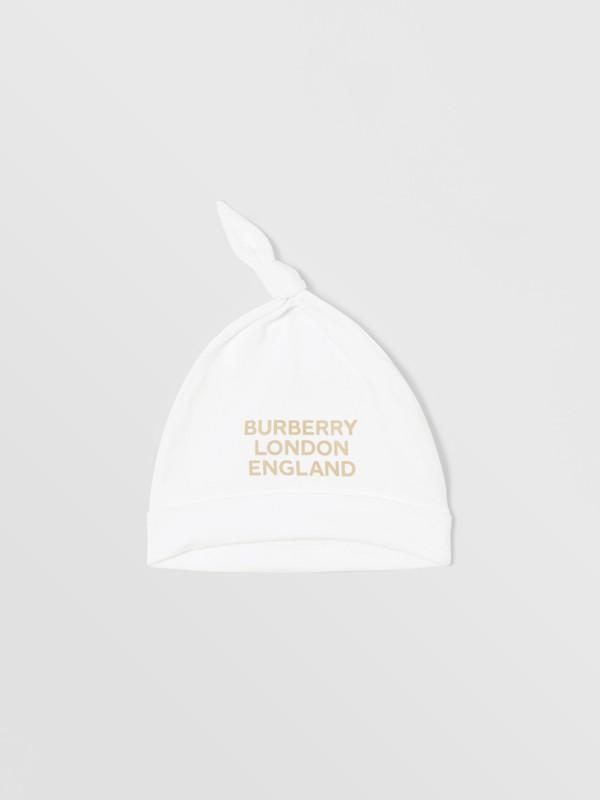 Set regalo da due pezzi in cotone biologico per neonato con stampa del logo (Bianco) - Bambini | Burberry - cell image 3