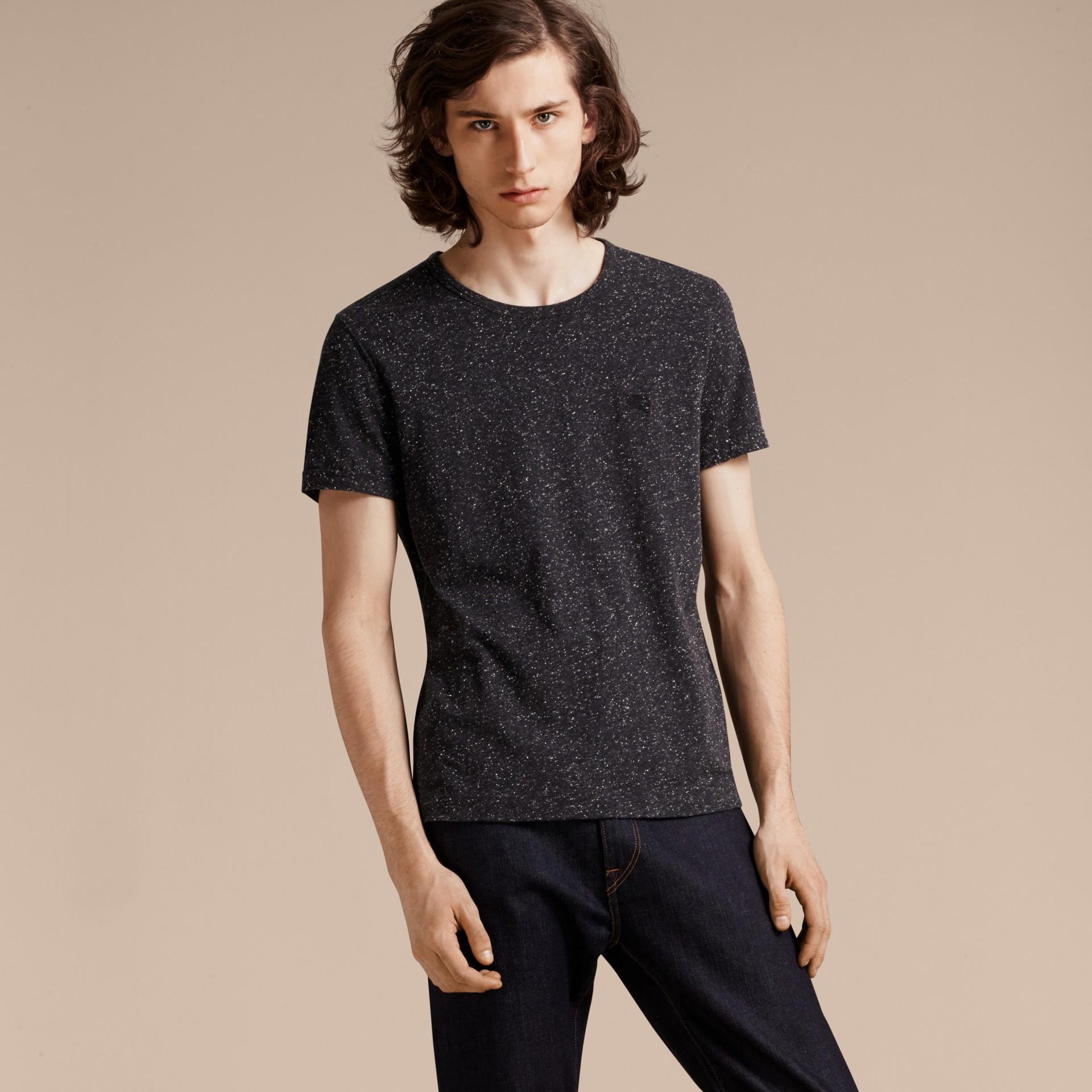 Black Crew Neck Flecked Cotton Jersey T-Shirt Black - gallery image 6