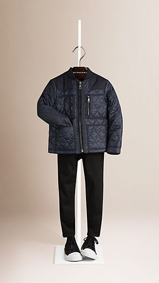 Multi-Pocket Diamond Quilted Jacket