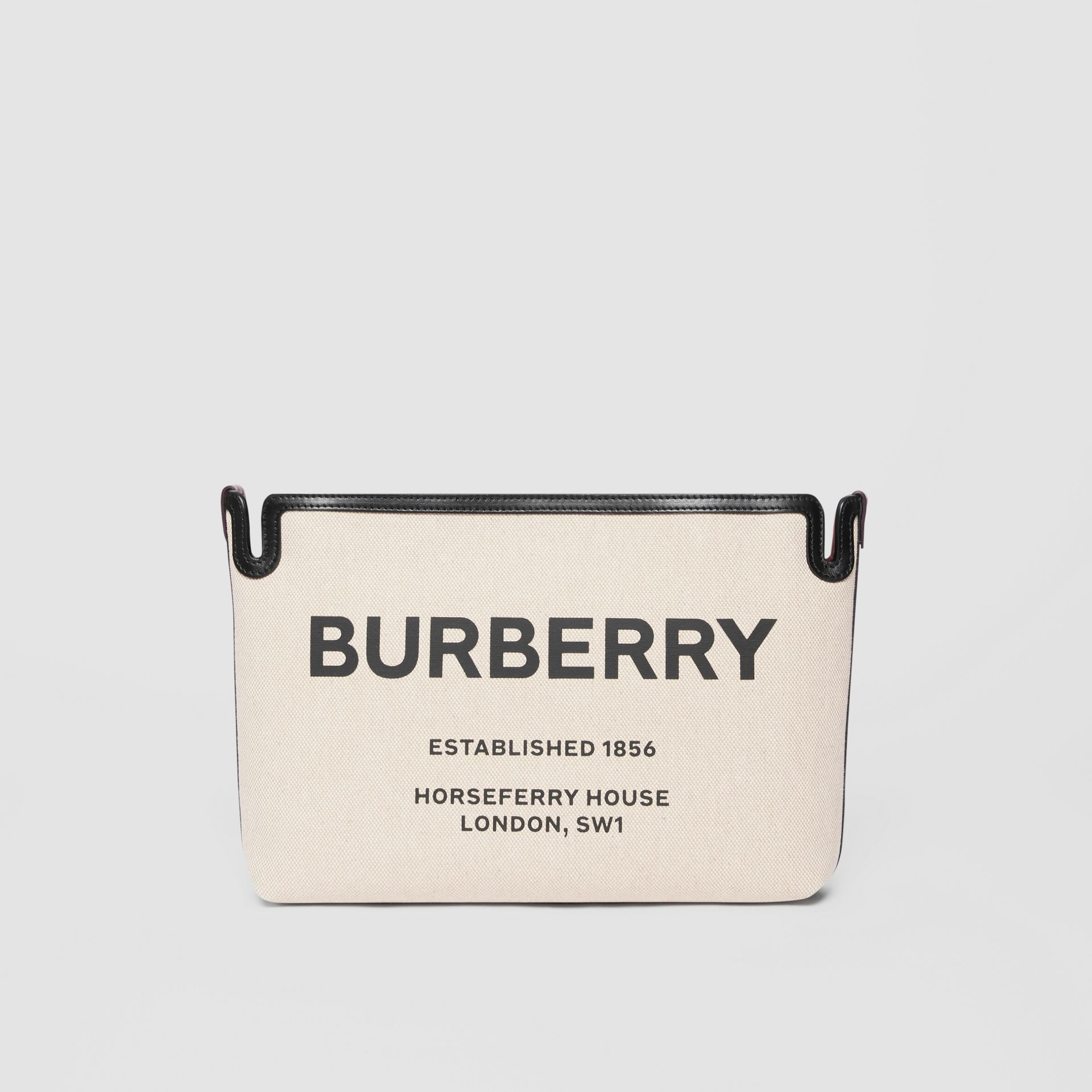 Medium Horseferry Print Canvas Clutch in Malt Brown/black - Women | Burberry - gallery image 0