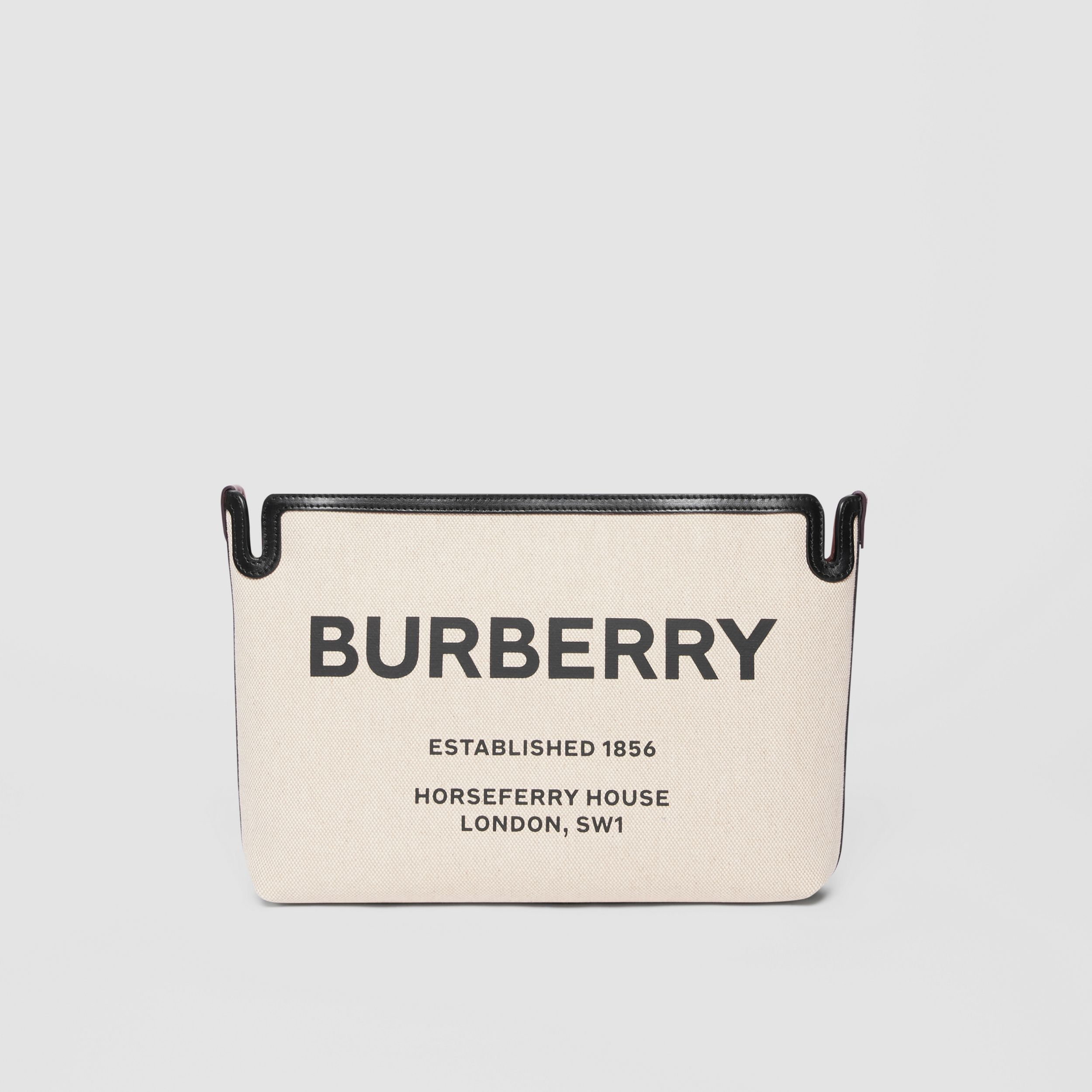 Medium Horseferry Print Canvas Clutch in Malt Brown/black - Women | Burberry Hong Kong S.A.R. - 1