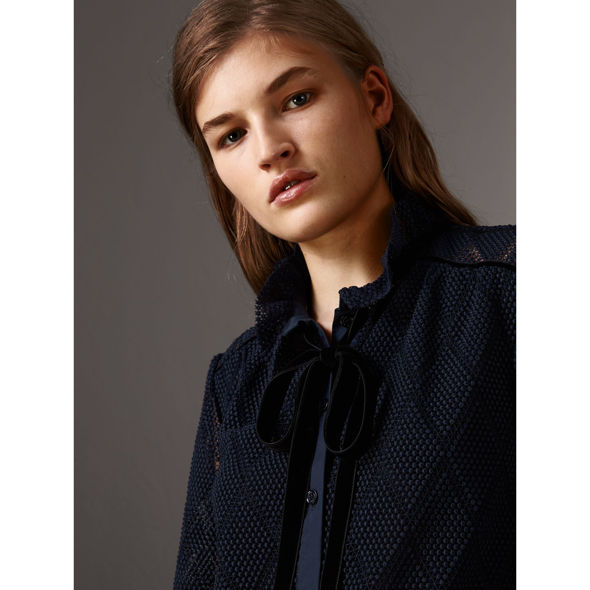Geometric Lace Tie-neck Shirt in Navy - Women | Burberry United Kingdom - gallery image 2