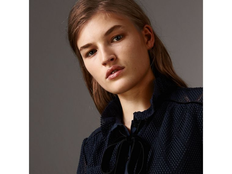 Geometric Lace Tie-neck Shirt in Navy - Women | Burberry United Kingdom - cell image 1