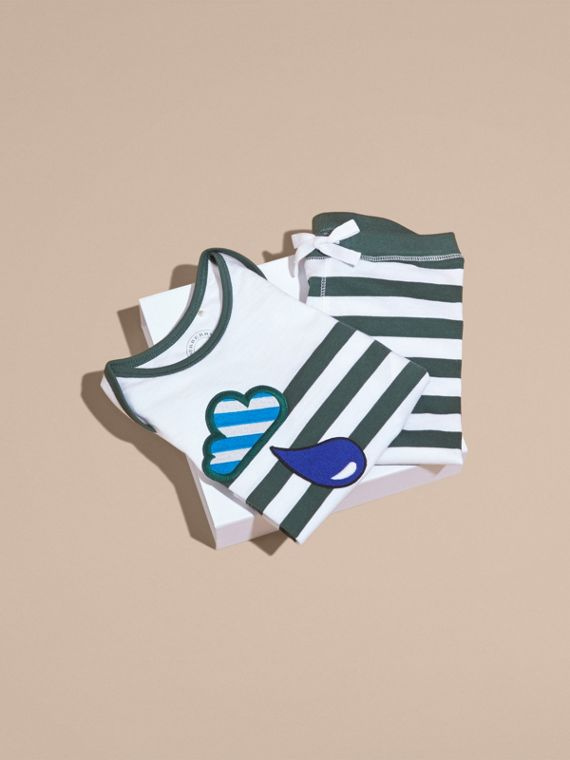 Striped Cotton Two-piece Baby Gift Set with Appliqué Racing Green - cell image 3