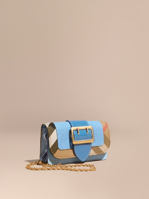 The Mini Buckle Bag in Leather and House Check Bright Mineral Blue