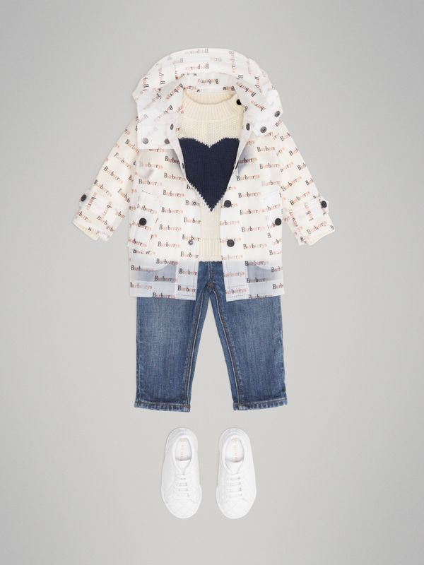 Archive Logo Print Trench Coat in Multicolour - Children | Burberry Singapore - cell image 2