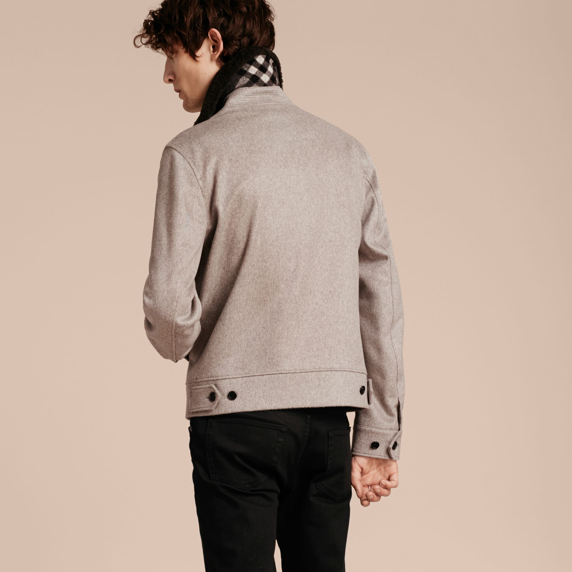 Pale grey melange Cashmere Jacket with Detachable Shearling Collar - gallery image 3