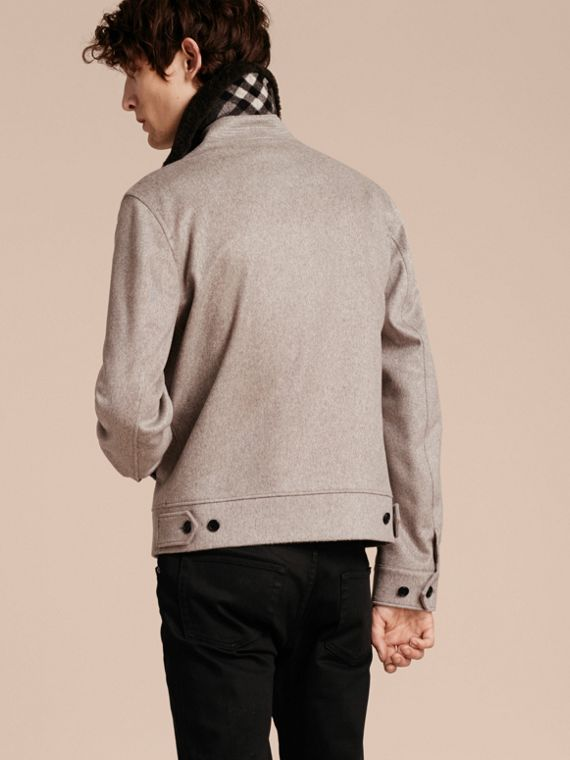 Pale grey melange Cashmere Jacket with Detachable Shearling Collar - cell image 2