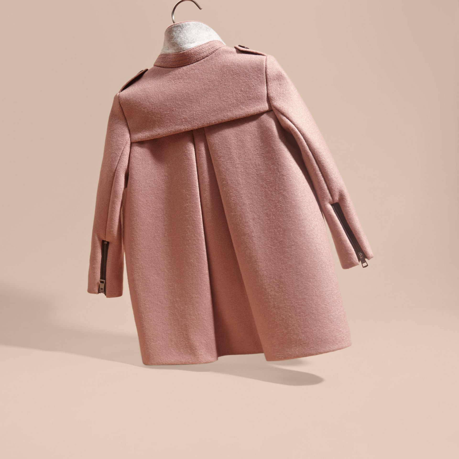 Pale ash rose Zip Detail Wool Coat Pale Ash Rose - gallery image 4
