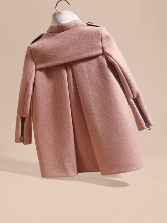 Pale ash rose Zip Detail Wool Coat - cell image 3