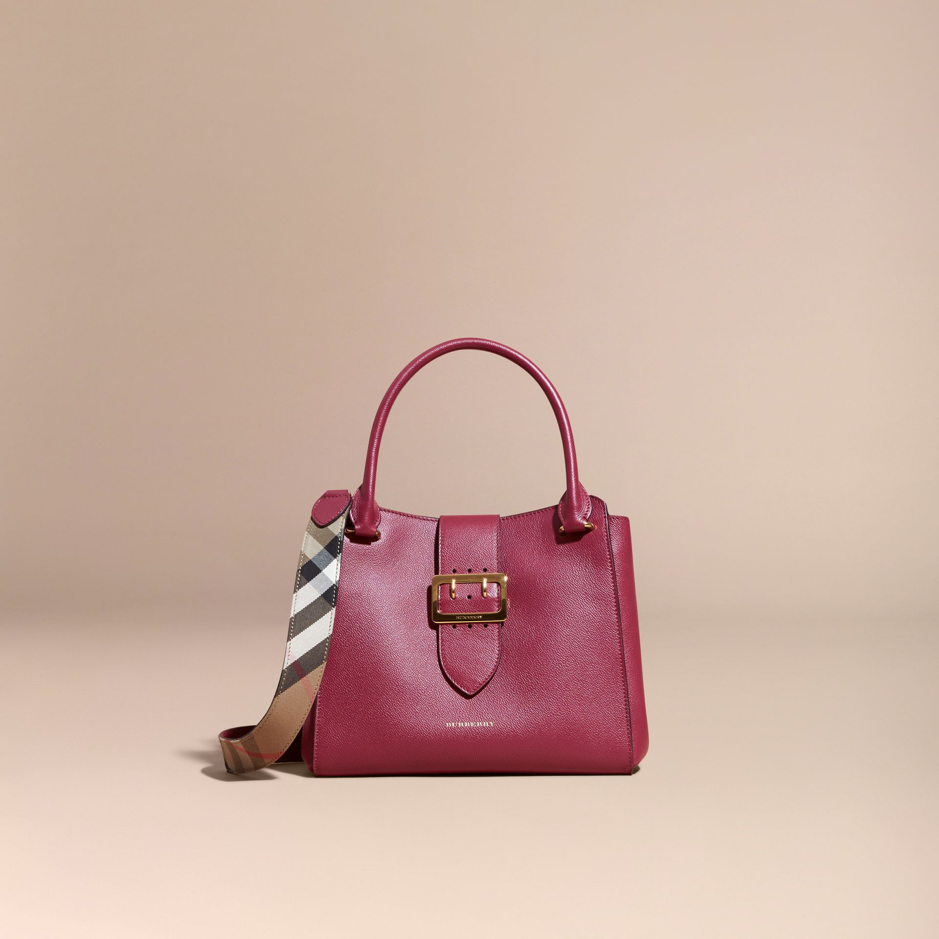Dark plum The Medium Buckle Tote in Grainy Leather Dark Plum - gallery image 9