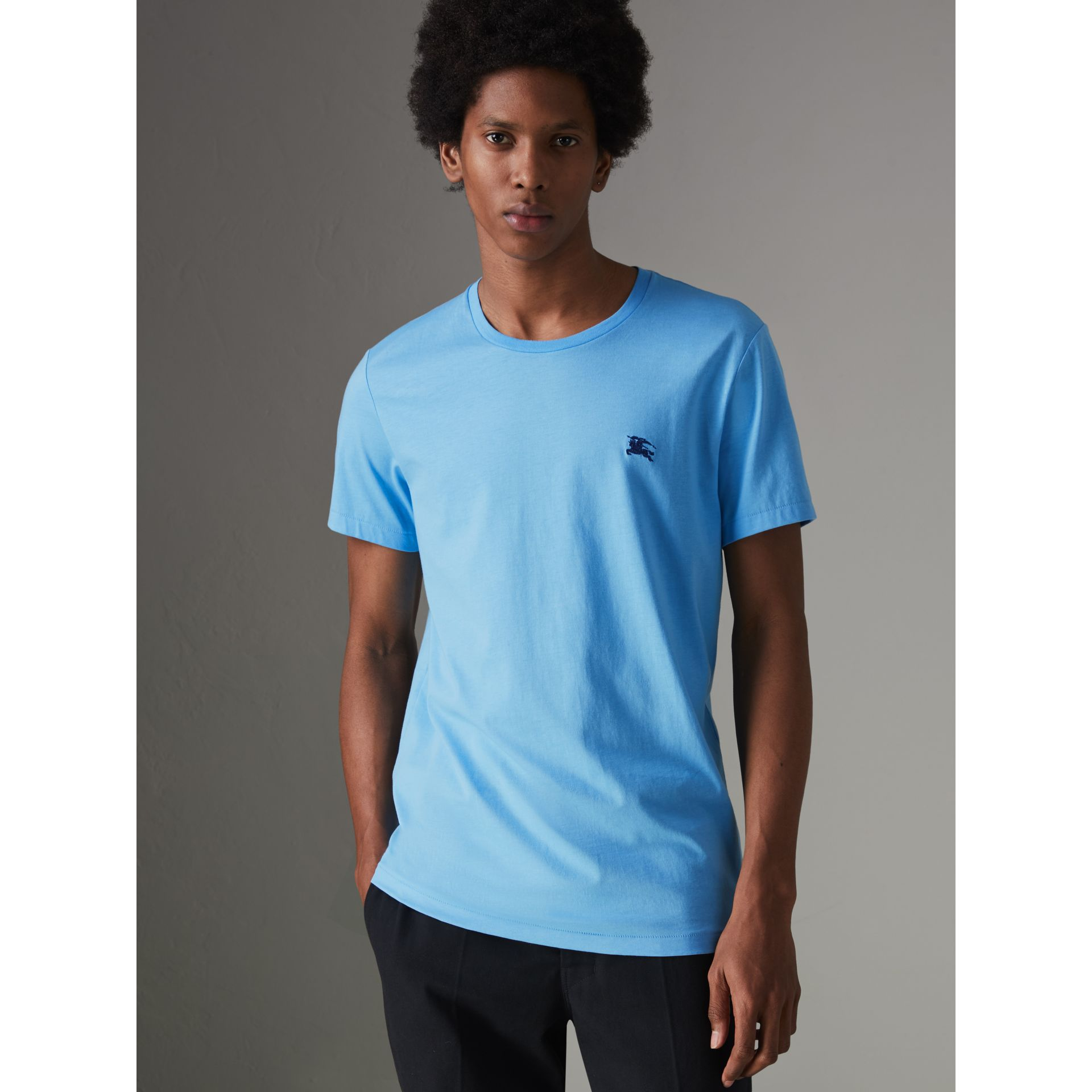 Cotton Jersey T-shirt in Blue Topaz - Men | Burberry Canada - gallery image 0