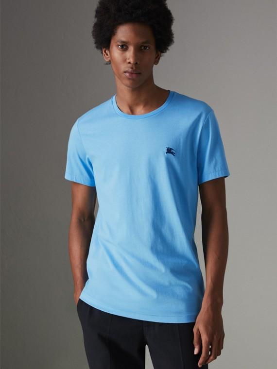 Camiseta de malha de algodão (Azul Topázio)