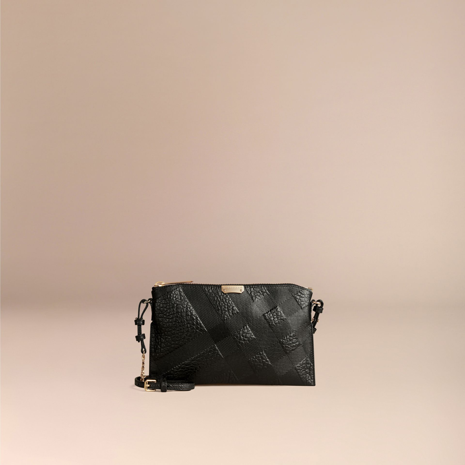 Black Check-embossed Leather Clutch Bag Black - gallery image 6