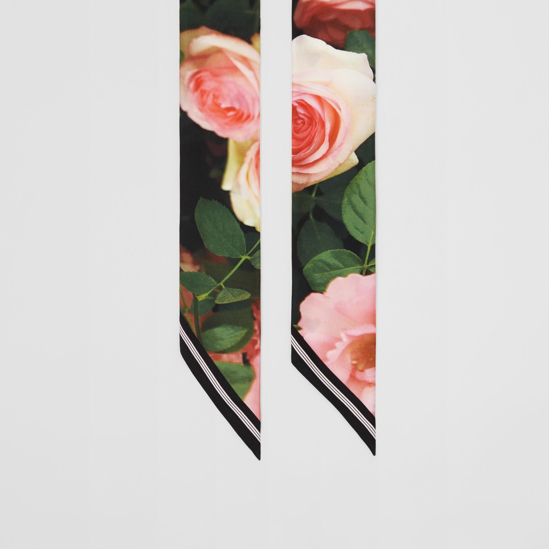 Floral Print Silk Skinny Scarf in Rose Pink | Burberry - gallery image 4