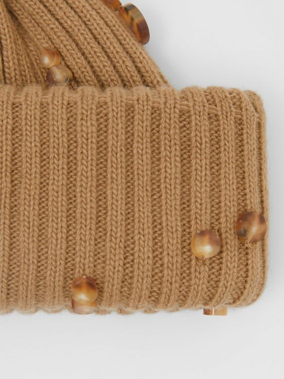 Embellished Rib Knit Wool Beanie in Warm Camel