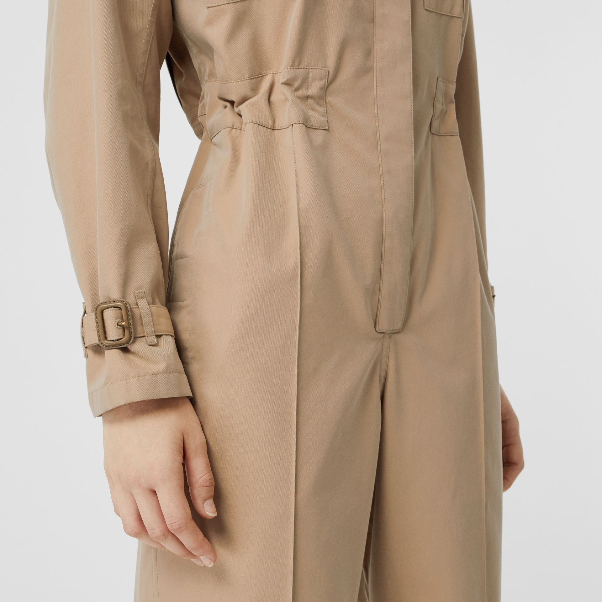 Cotton Gabardine Jumpsuit in Honey - Women | Burberry - gallery image 4