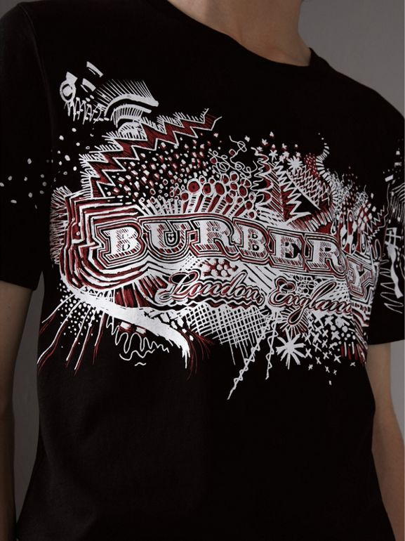 Doodle Print Cotton T-Shirt in Black - Men | Burberry - cell image 1