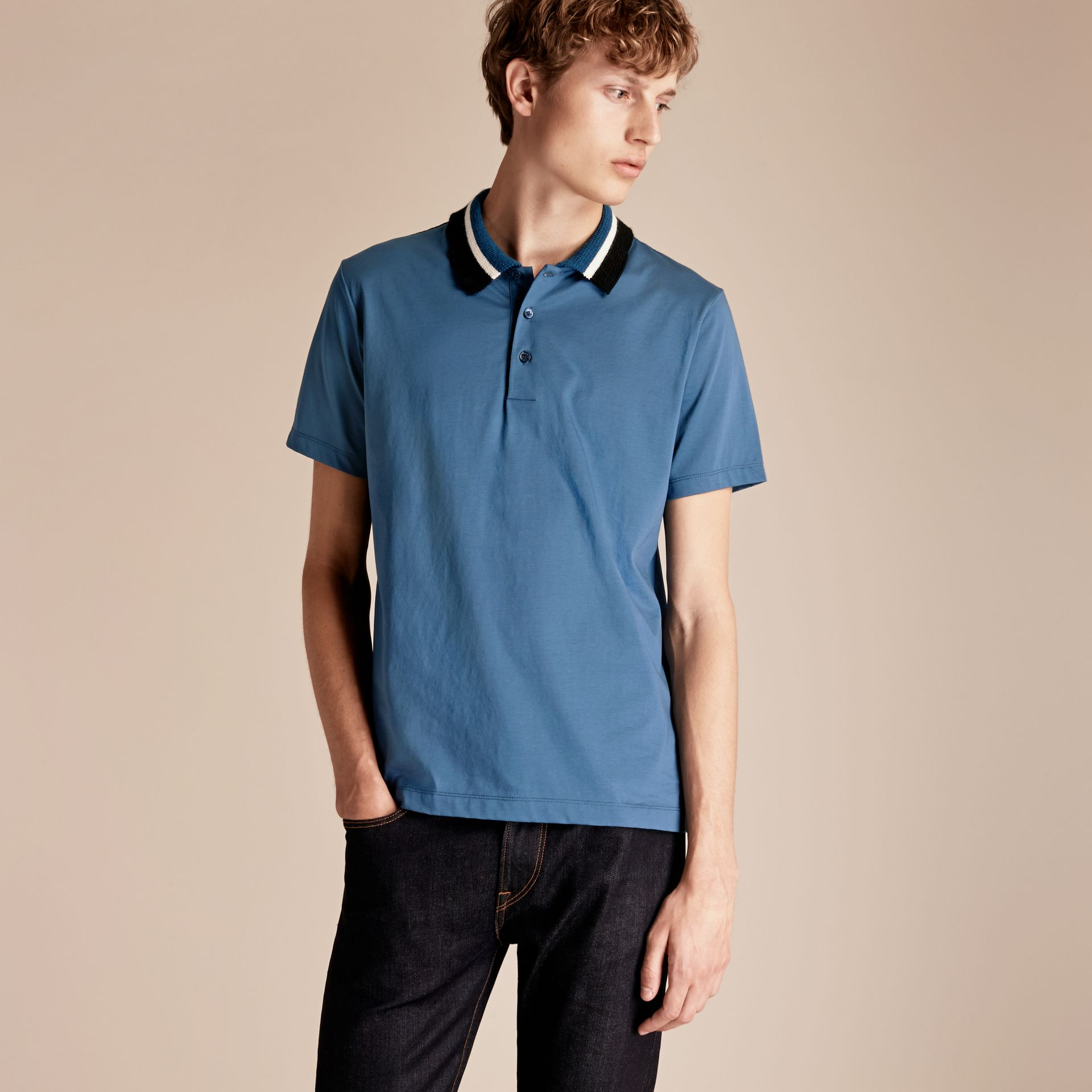 Mineral blue Cotton Polo Shirt with Knitted Collar Mineral Blue - gallery image 6