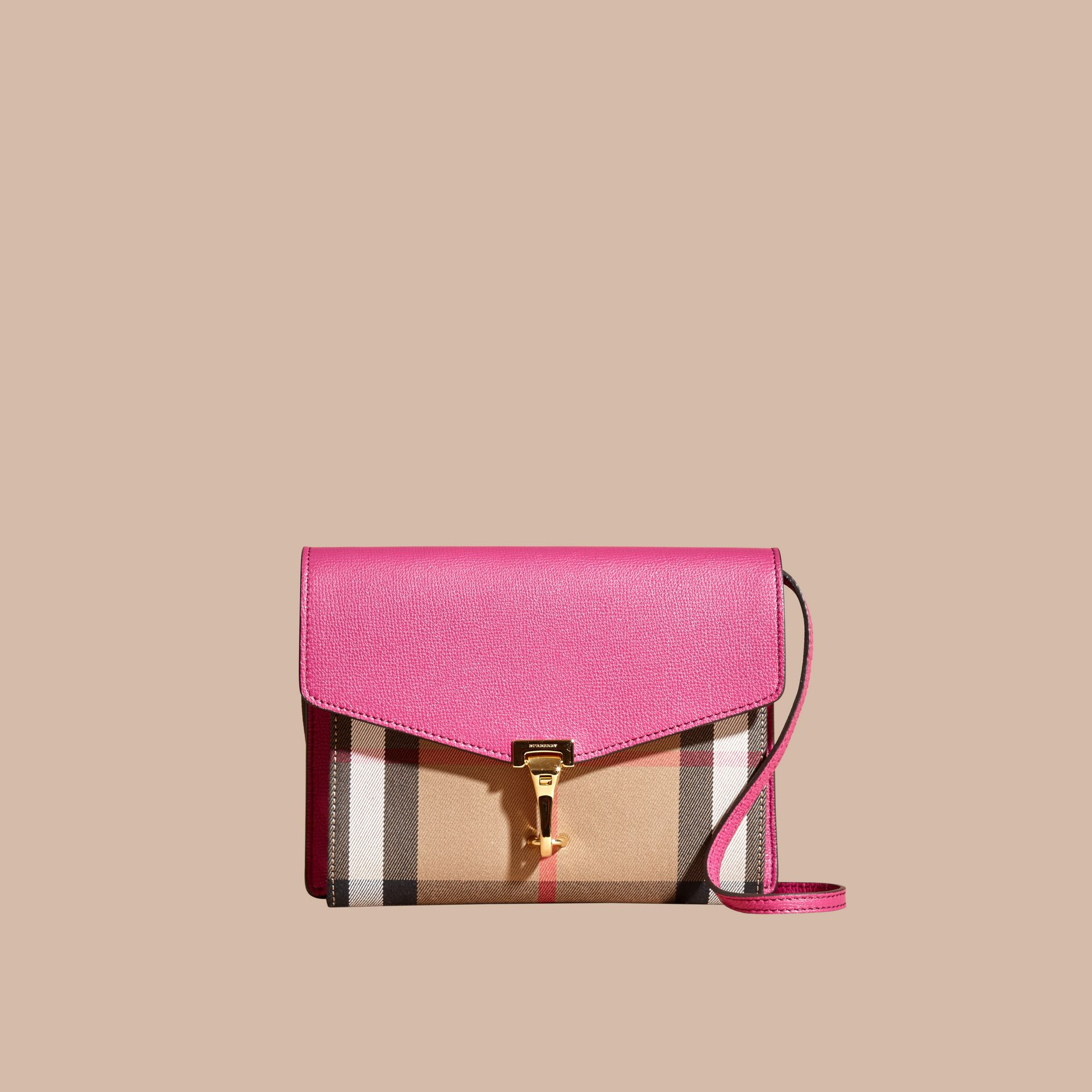Brilliant fuchsia Small Leather and House Check Crossbody Bag - gallery image 9