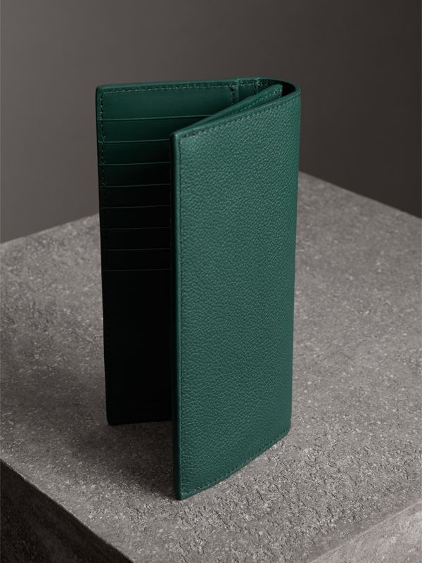 Grainy Leather Continental Wallet in Dark Cyan - Men | Burberry - cell image 2