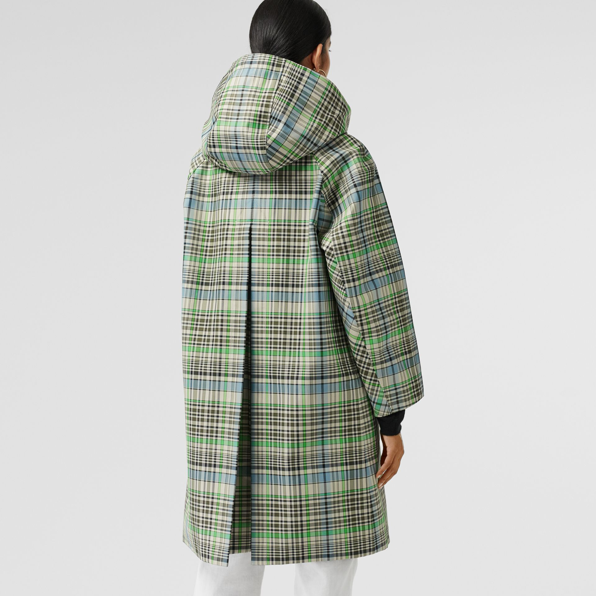 Detachable Hood Check Bonded Cotton Car Coat in Tourmaline Green - Women | Burberry United Kingdom - gallery image 2