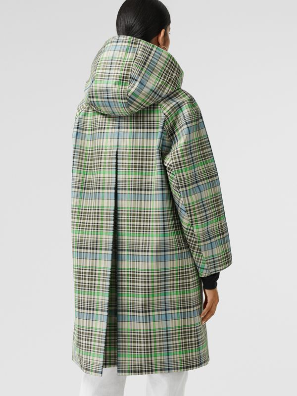 Detachable Hood Check Bonded Cotton Car Coat in Tourmaline Green - Women | Burberry United Kingdom - cell image 2