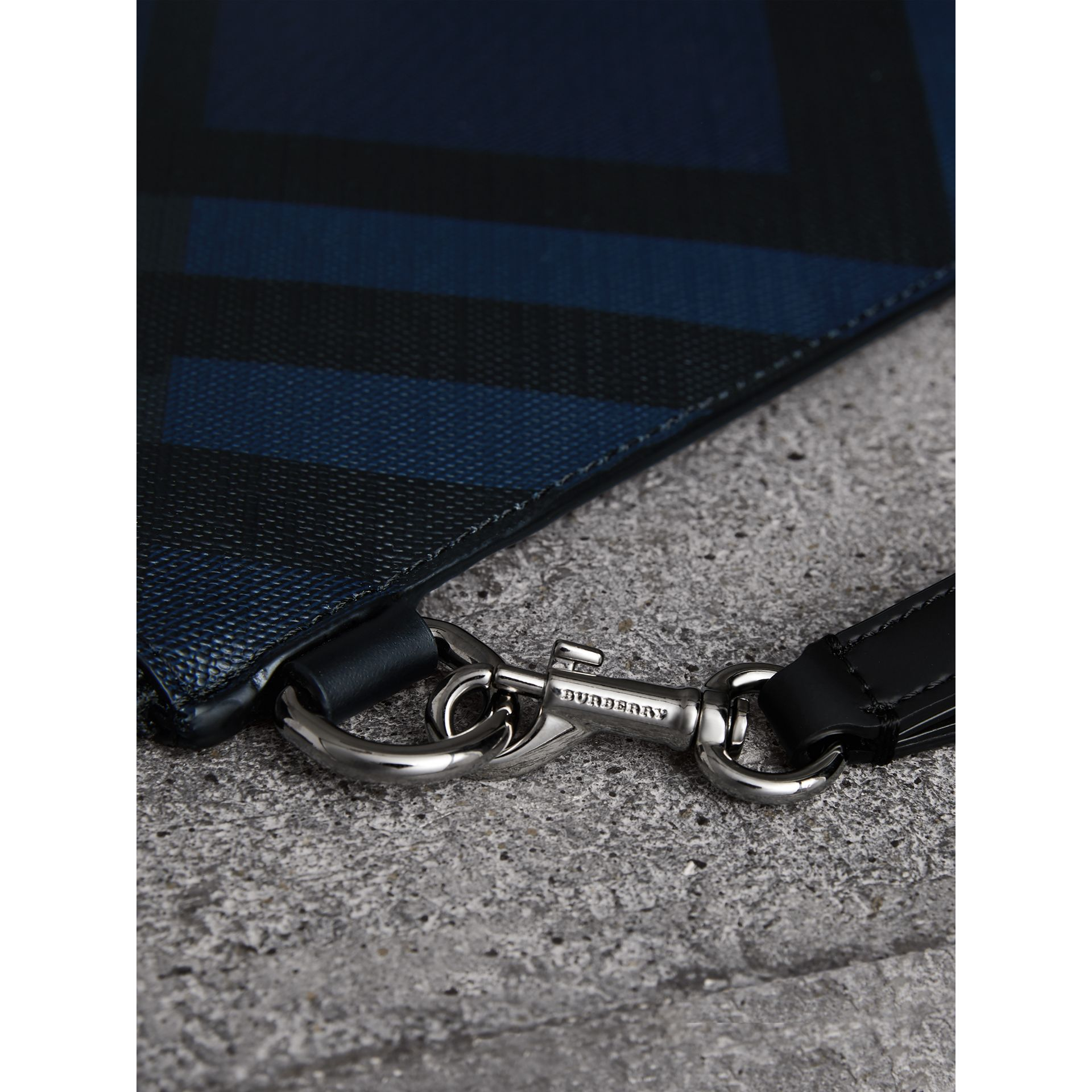 London Check Zip Pouch in Navy/black | Burberry - gallery image 1