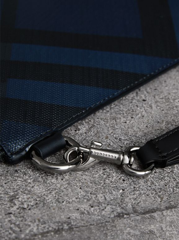 London Check Zip Pouch in Navy/black | Burberry - cell image 1