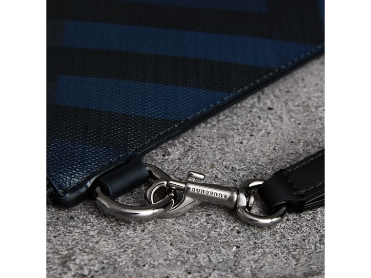 London Check Zip Pouch in Navy/black | Burberry United Kingdom - cell image 1
