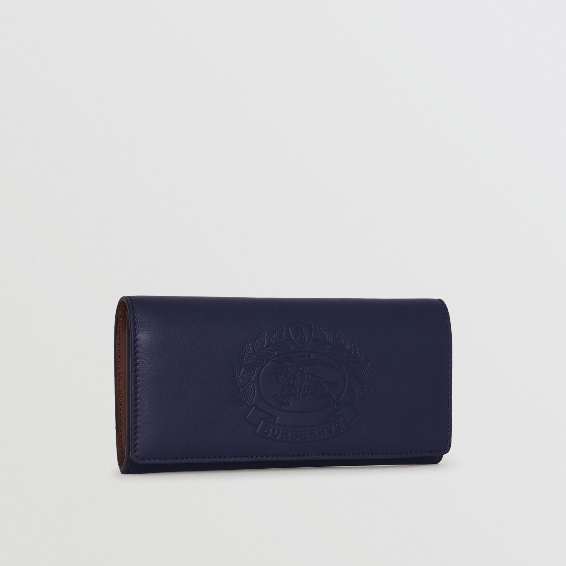 Embossed Crest Two-tone Leather Continental Wallet in Regency Blue - Women | Burberry - gallery image 3