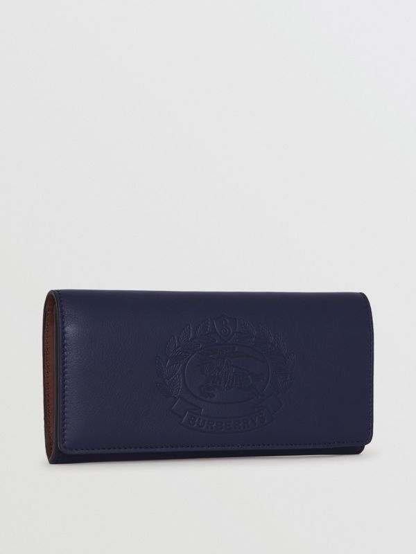 Embossed Crest Two-tone Leather Continental Wallet in Regency Blue - Women | Burberry - cell image 3