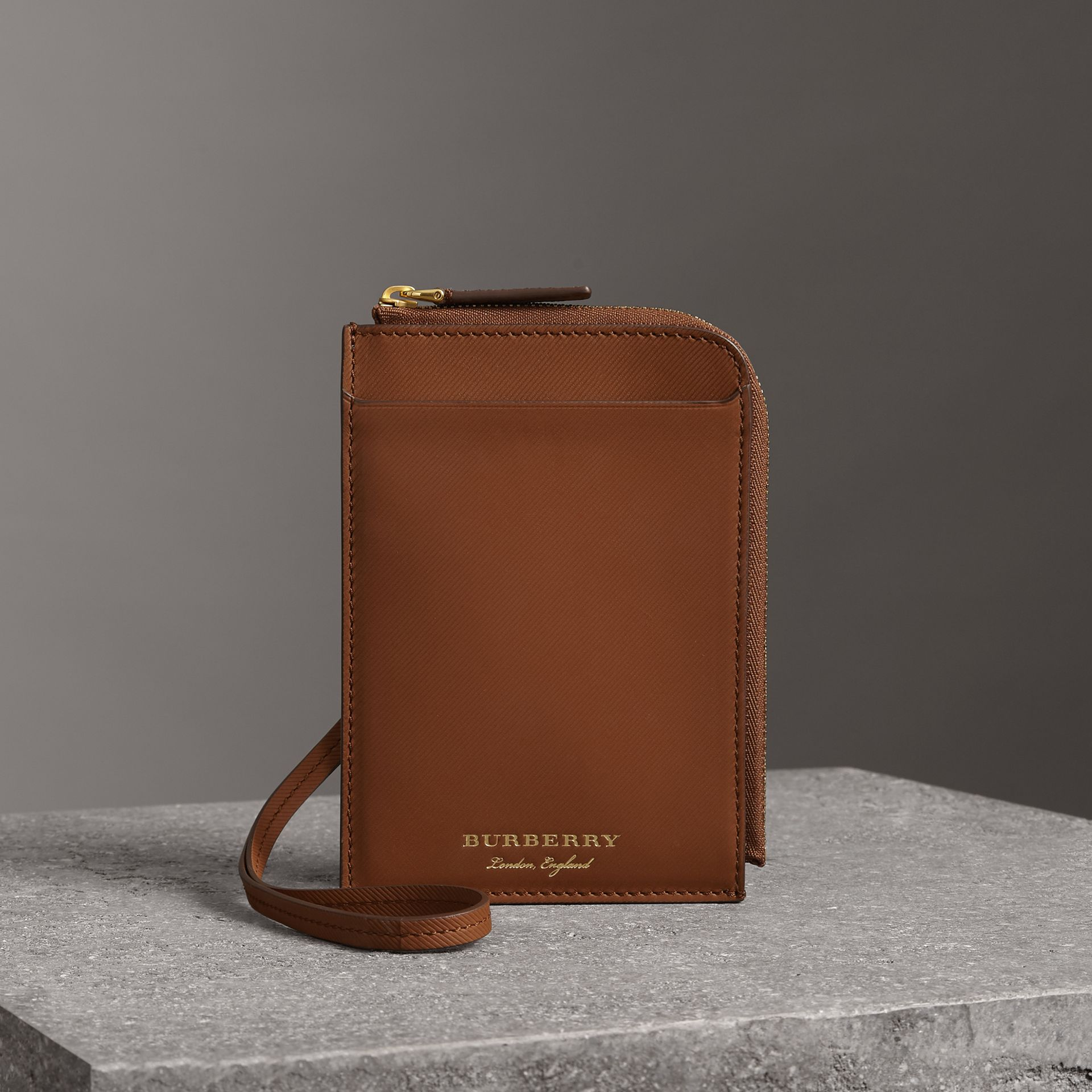 Trench Leather Ziparound Passport Holder in Tan | Burberry - gallery image 0