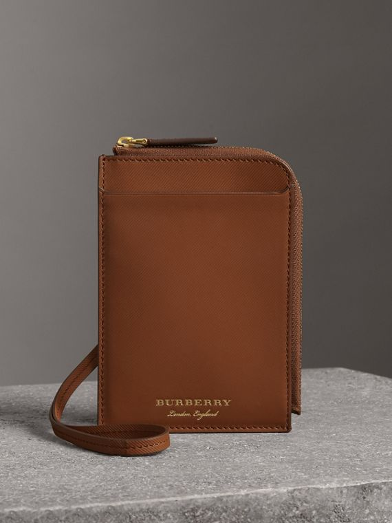 Trench Leather Ziparound Passport Holder in Tan