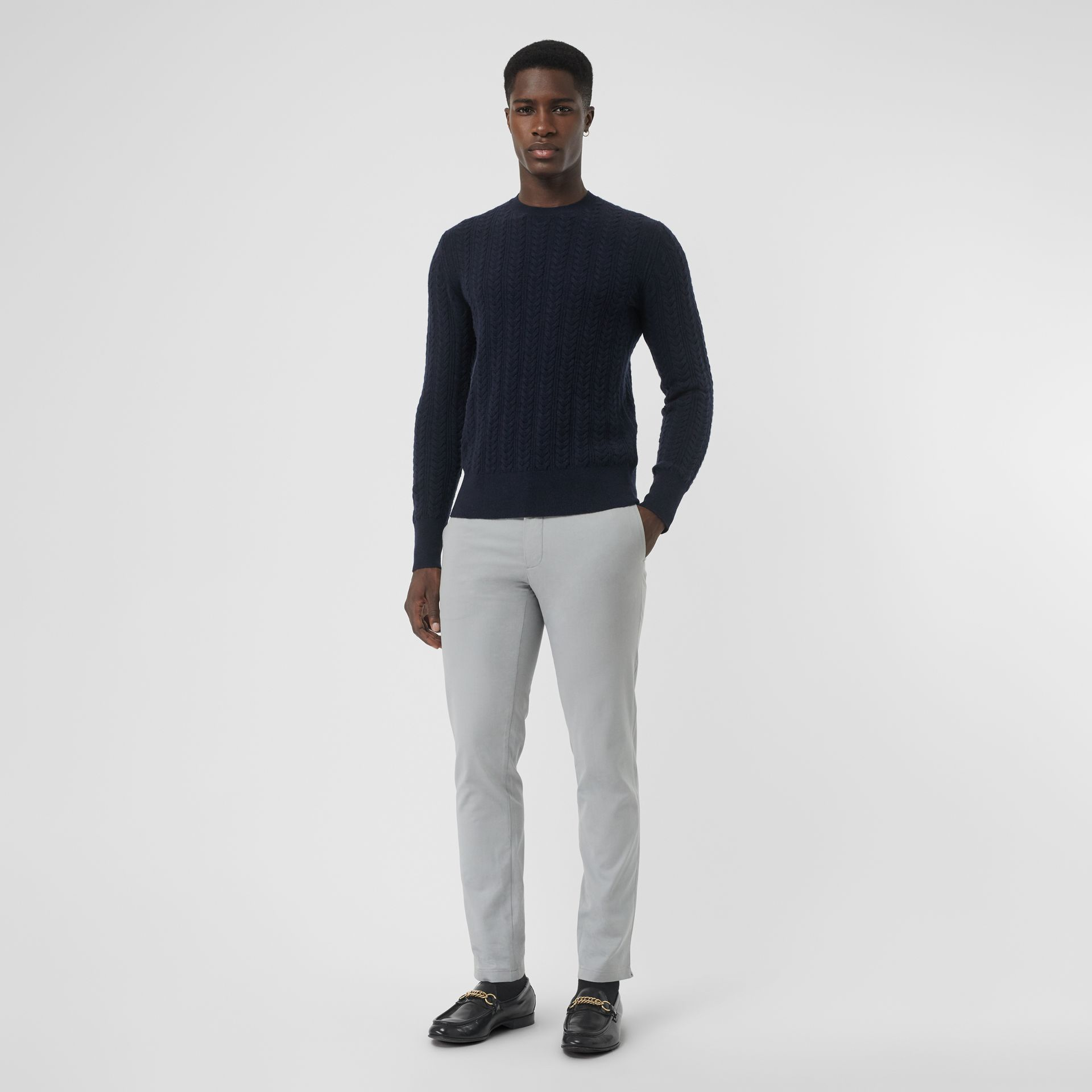 Cable Knit Cashmere Sweater in Navy - Men | Burberry United Kingdom - gallery image 0
