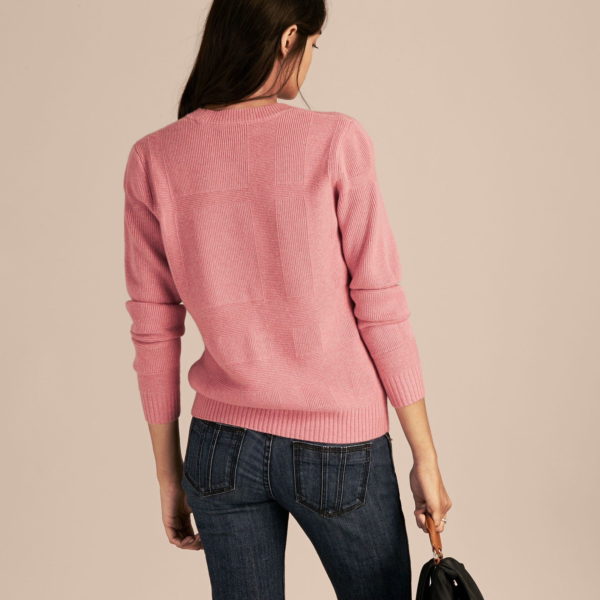 Check-knit Wool Cashmere Sweater in Hydrangea Pink Melange - gallery image 3
